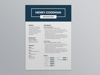 Free Dark Blue Resume Template