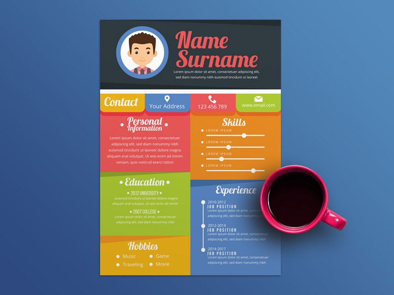 Free Colorful Resume Templates Illustrator Eps Freebie Curriculum Vitae Ai Cv Template