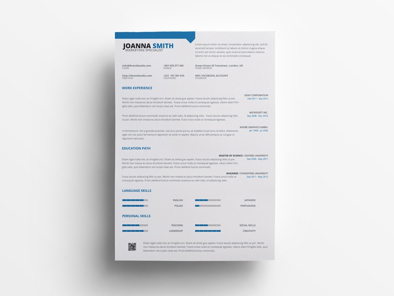 Free Marketing Specialist Resume Template Curriculum Vitae Cv Photoshop Freebie Freebies