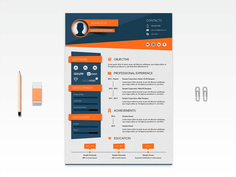 Free Vector Stylish Resume Template By Julian Ma On Dribbble