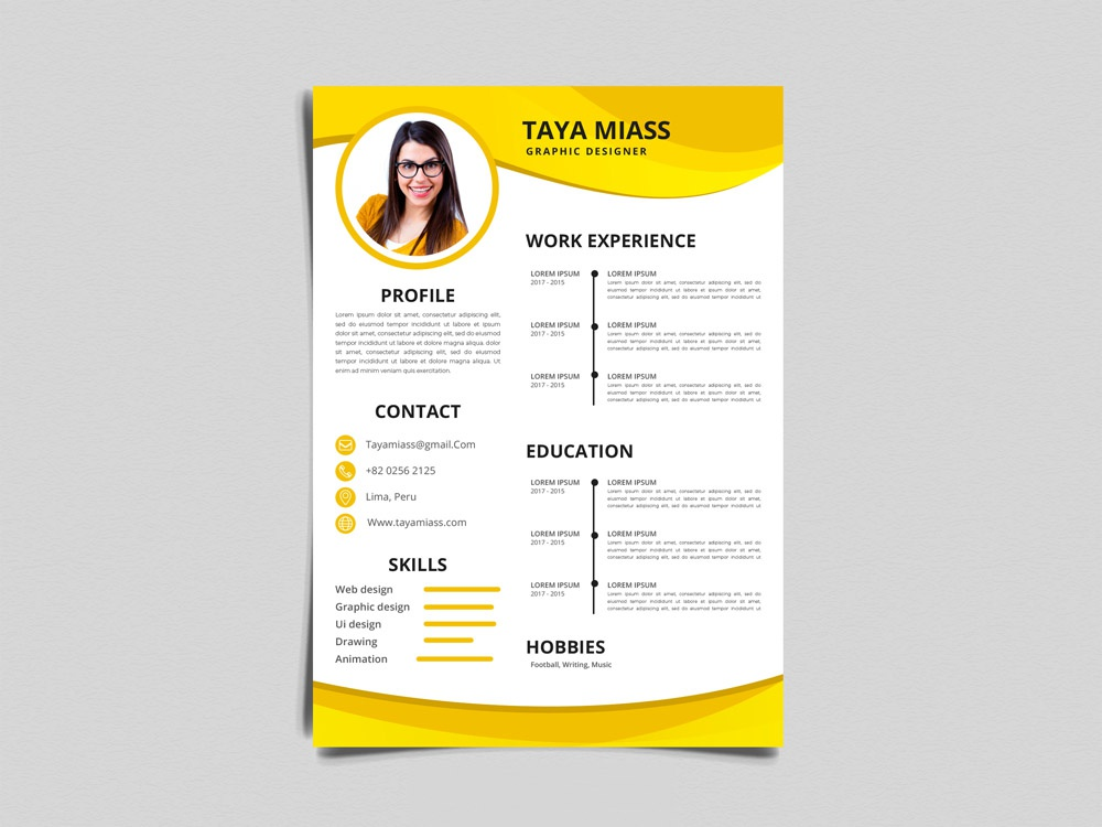 free yellow timeline resume template by julian ma