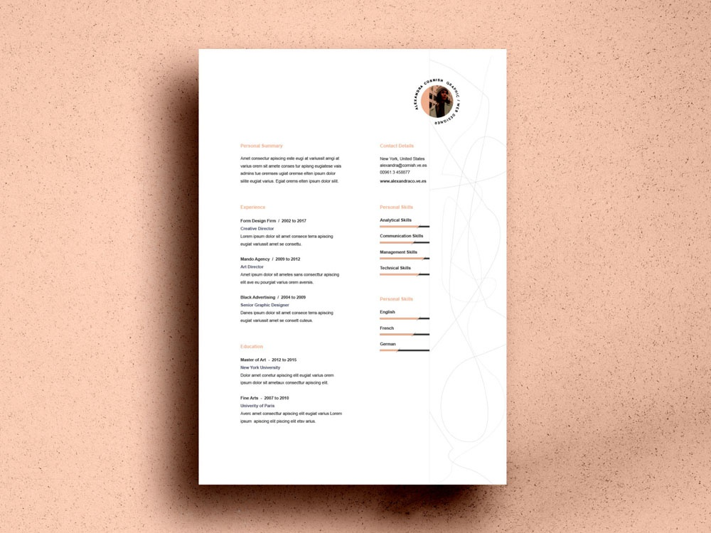 free resume template with simple two column layout by julian ma