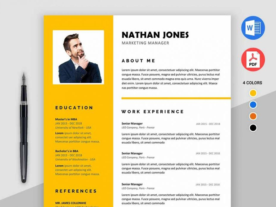 Free Microsoft Word Resume Template With Modern Design Freebie Cv Curriculum