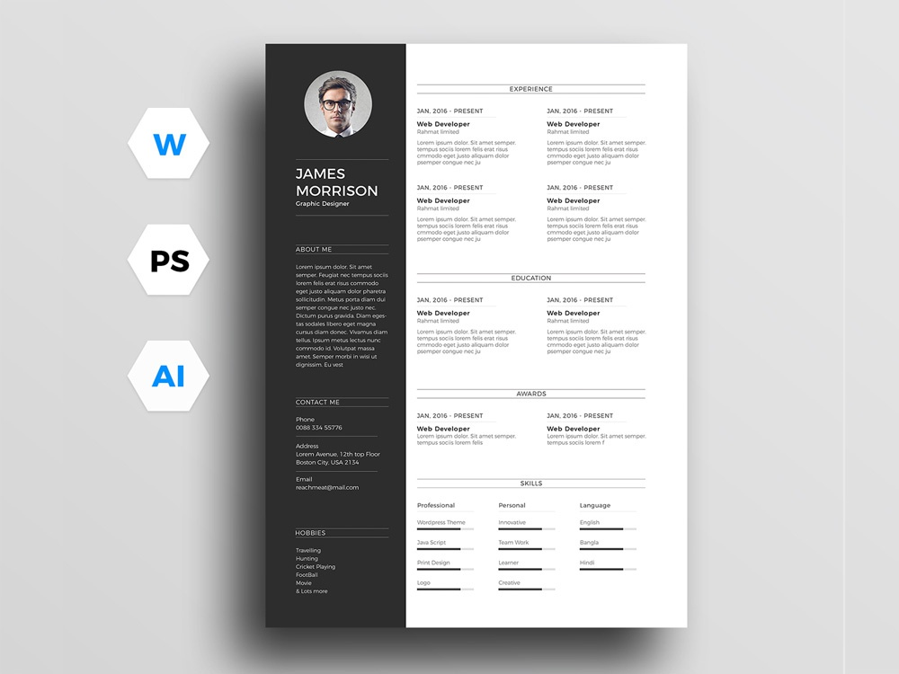 Free Minimal Resume Template For Word Illustrator And Photoshop Psd Jobs Cv