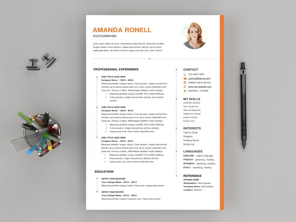 Free Timeline Microsoft Word Resume Template By Julian Ma On