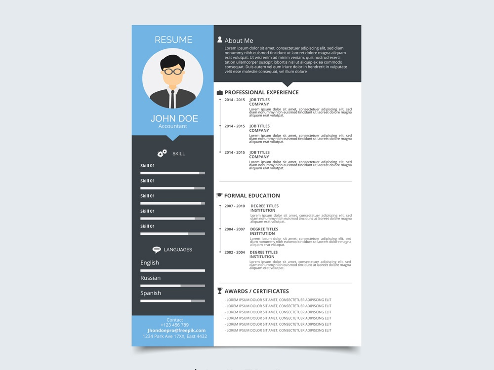 free vector resume template with flat style design by