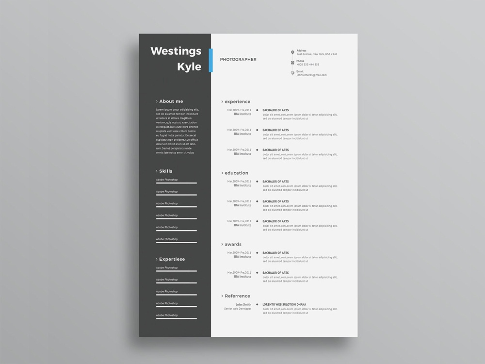 free resume template with elegant design in psd file