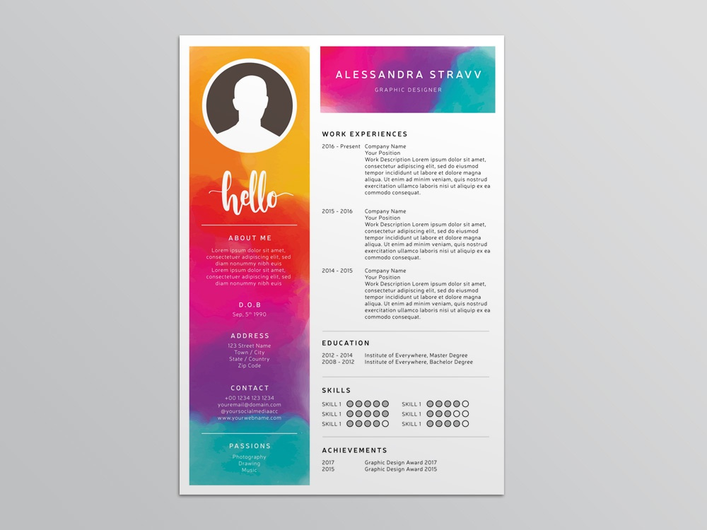 Free Colorful Resume Template For Job Seeker Illustrator Jobs Cv