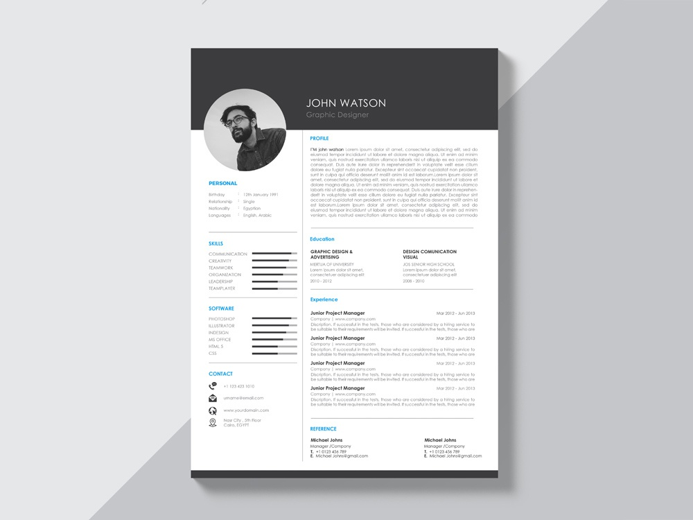free black and white curriculum vitae template by julian