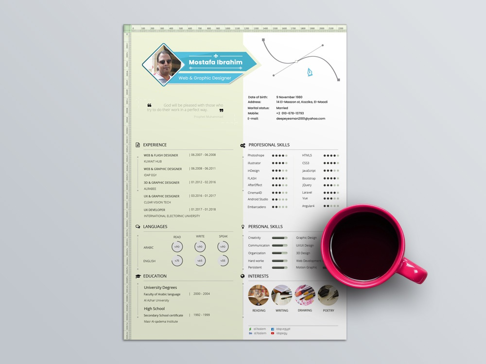 Free PSD Resume Template With Infographic Style Design Cv Photoshop