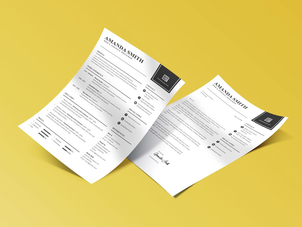 free minimalist resume template with matching cover letter by julian