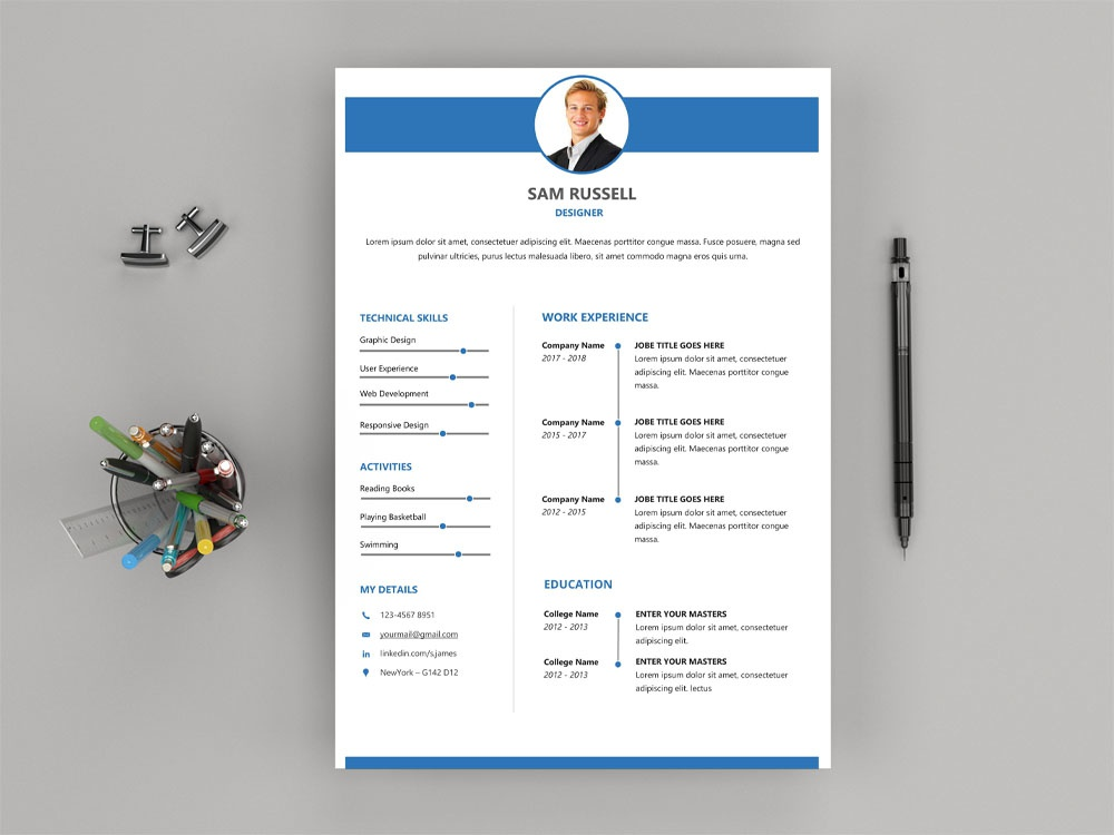 Free Modern Word Resume Template Cv Freebie Curriculum Vitae