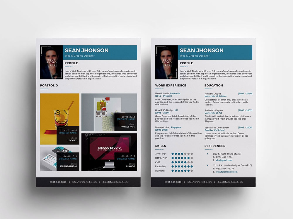 Free Modern Resume Template With Portfolio And Cover Letter By