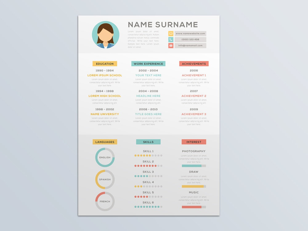 Free Vector Resume Template With Infographic Style By Julian Ma