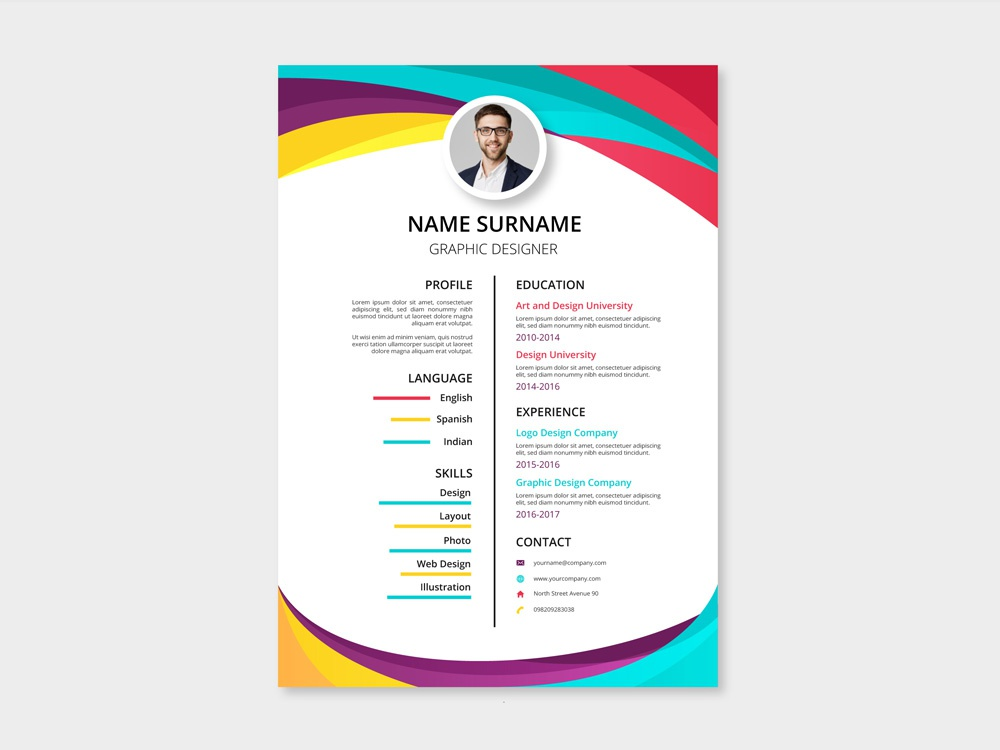 free two column resume template with colorful style design by julian