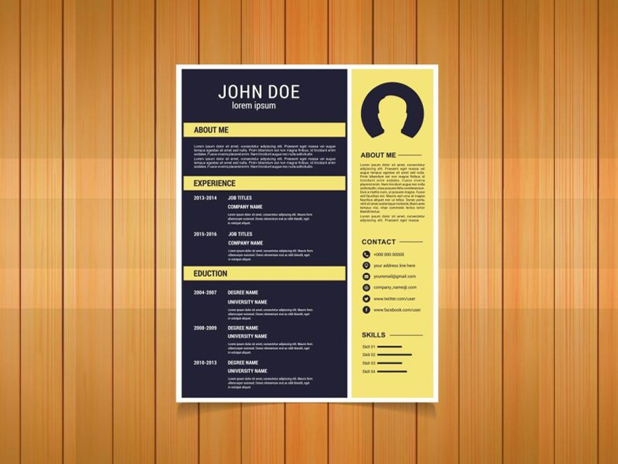free flat resume template with yellow color scheme by julian ma