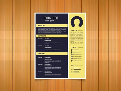 Free Flat Resume Template With Yellow Color Scheme eps free cv cv template freebie curriculum vitae free cv template free resume template cv freebies resume