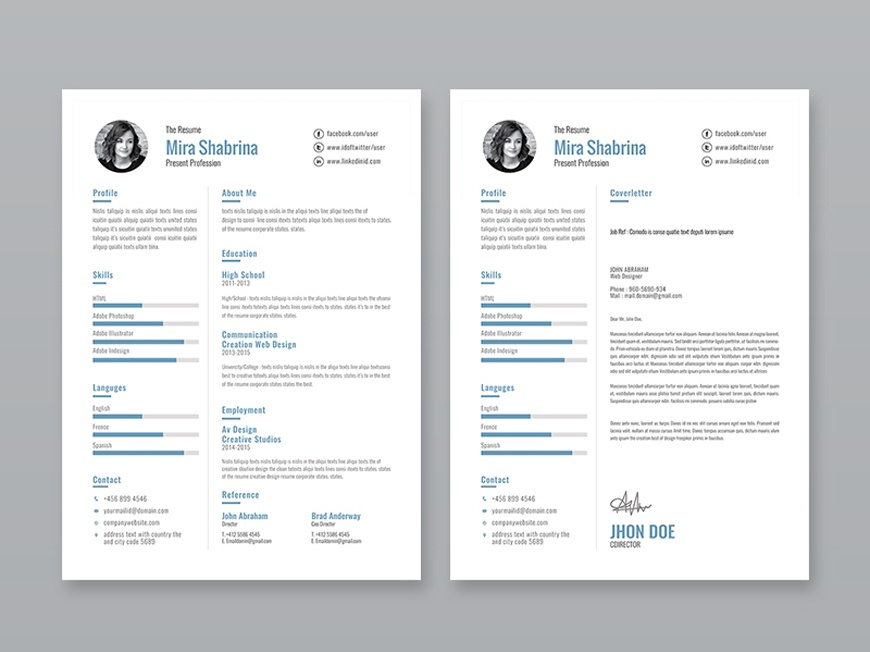 Free Simple Illustrator Resume Template Ai Eps Cv Freebie Curriculum Vitae