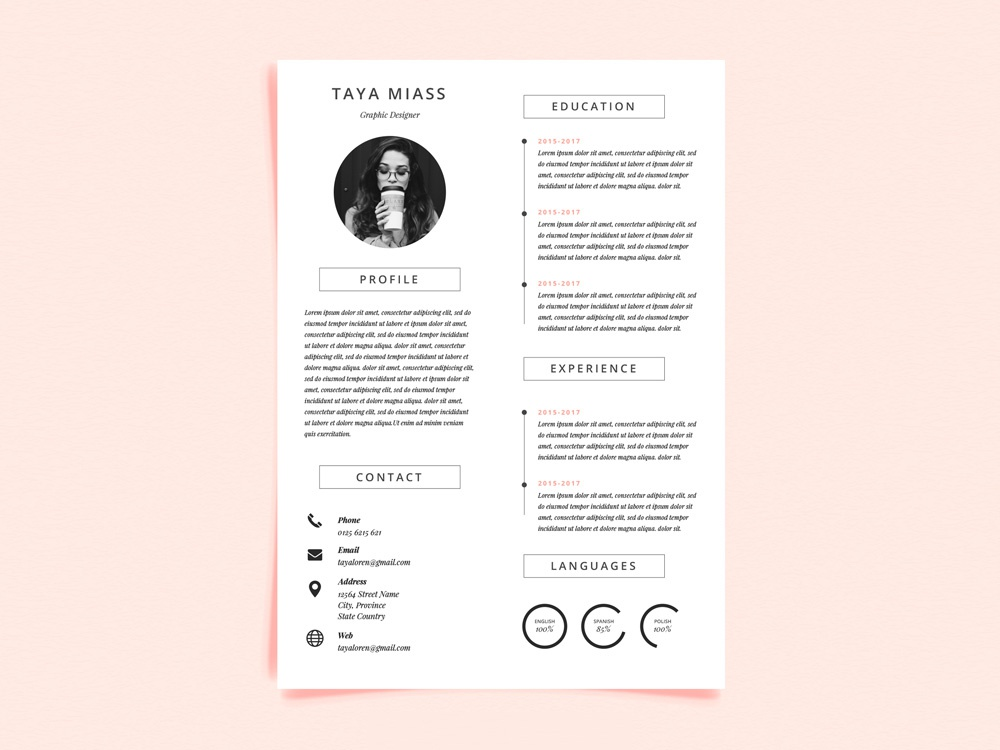 free resume template with super minimalist design by