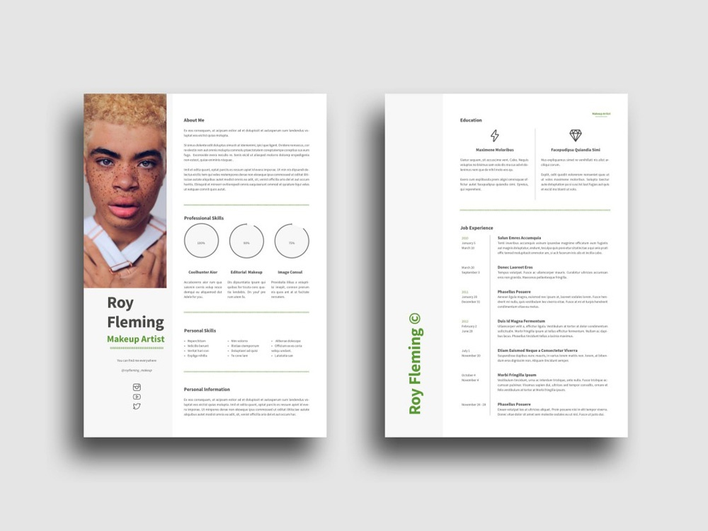 Free Makeup Artist Resume Template by Julian Ma on Dribbble