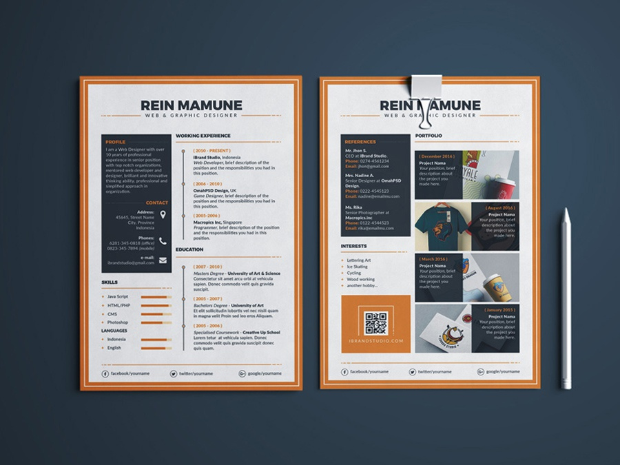 Free Elegant Resume Template With Portfolio And Cover Letter By