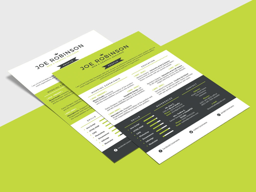 free single page resume template with three custom colors by julian