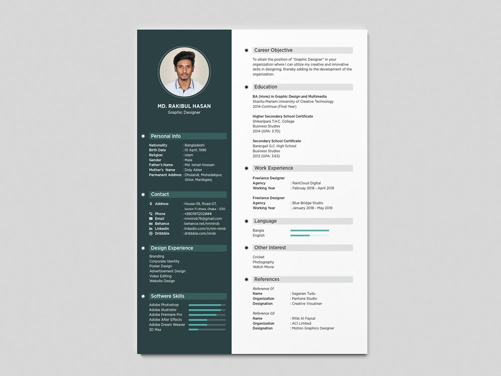 Free Simple Resume Template with Clean Design by Julian Ma ...