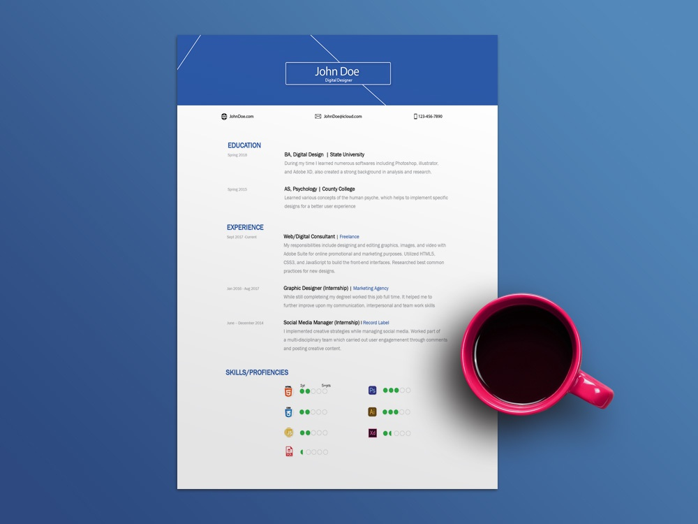 Free Resume Template Made With Adobe Illustrator By Julian Ma On Dribbble