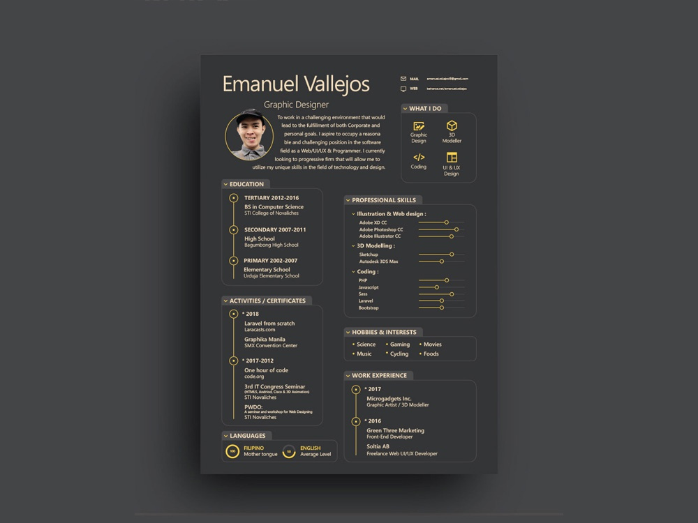 Free Black Illustrator Resume Template by Julian Ma on Dribbble on