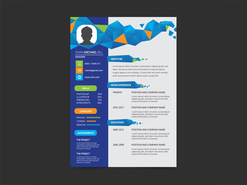 free geometric resume template with flat style design by julian ma