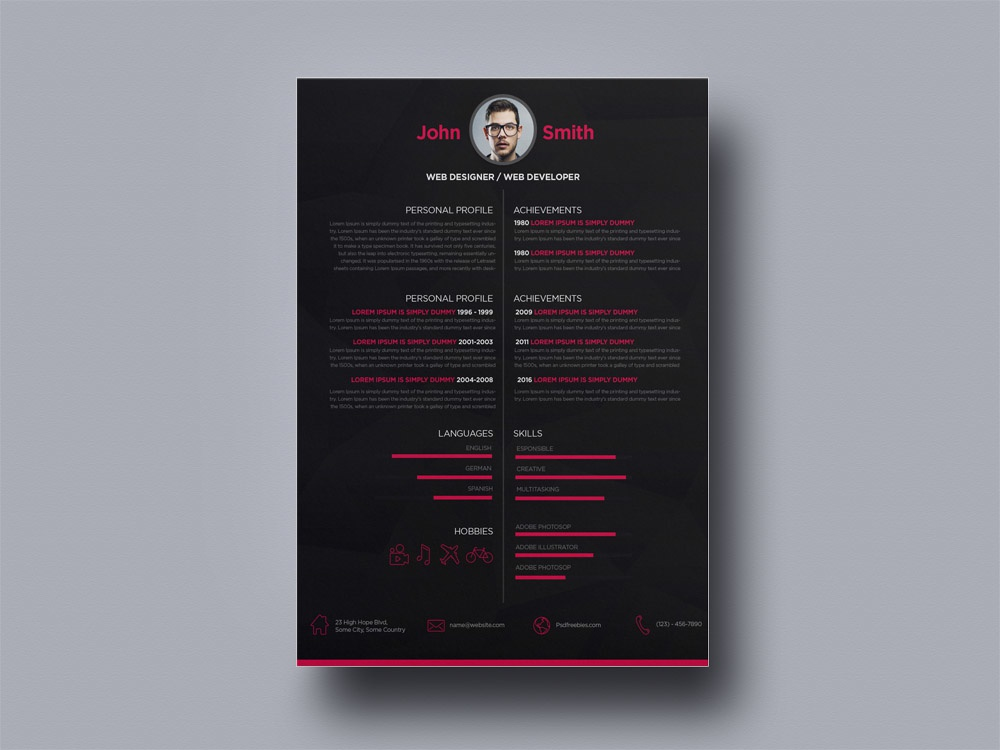 free dark creative resume for web designer by julian ma