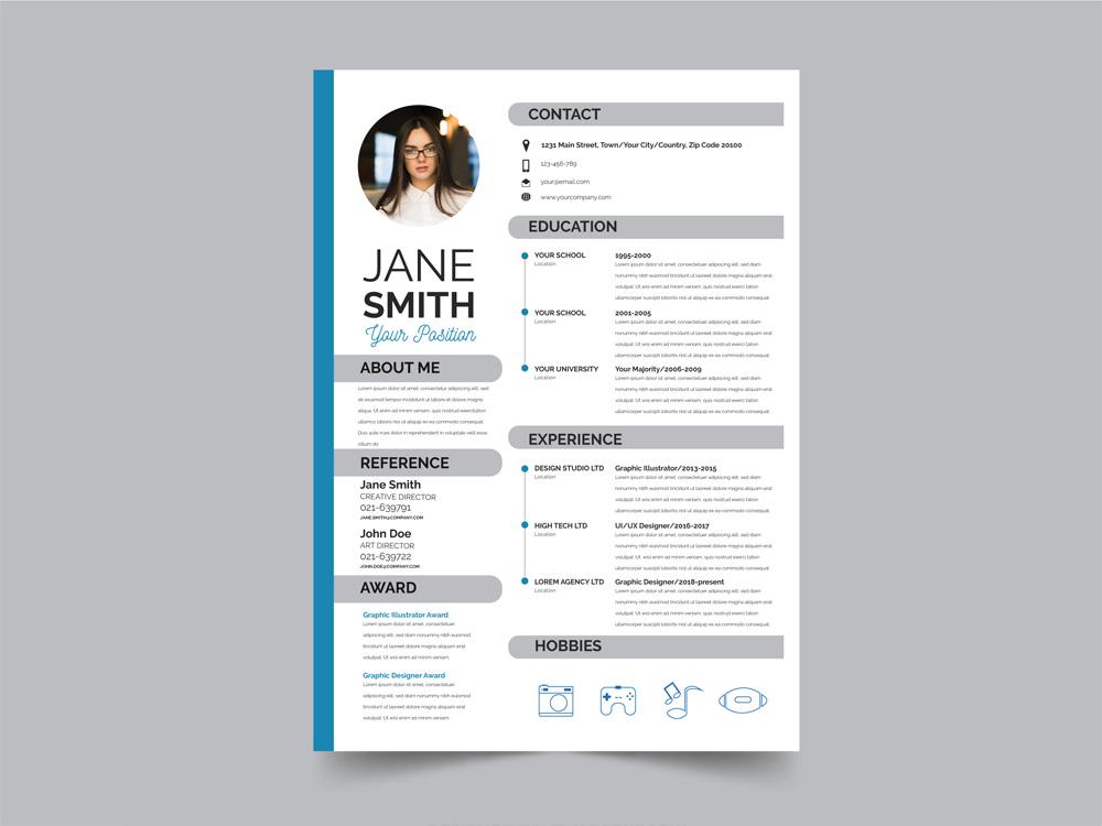 free modern flat resume template by julian ma on dribbble