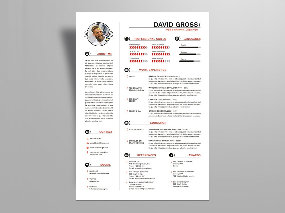 Free Hipster Style Resume Template For Job Seeker Cv Freebie