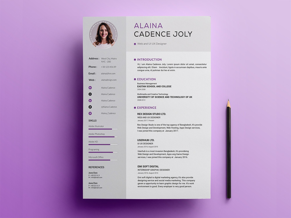 free clean professional resume template by julian ma on dribbble