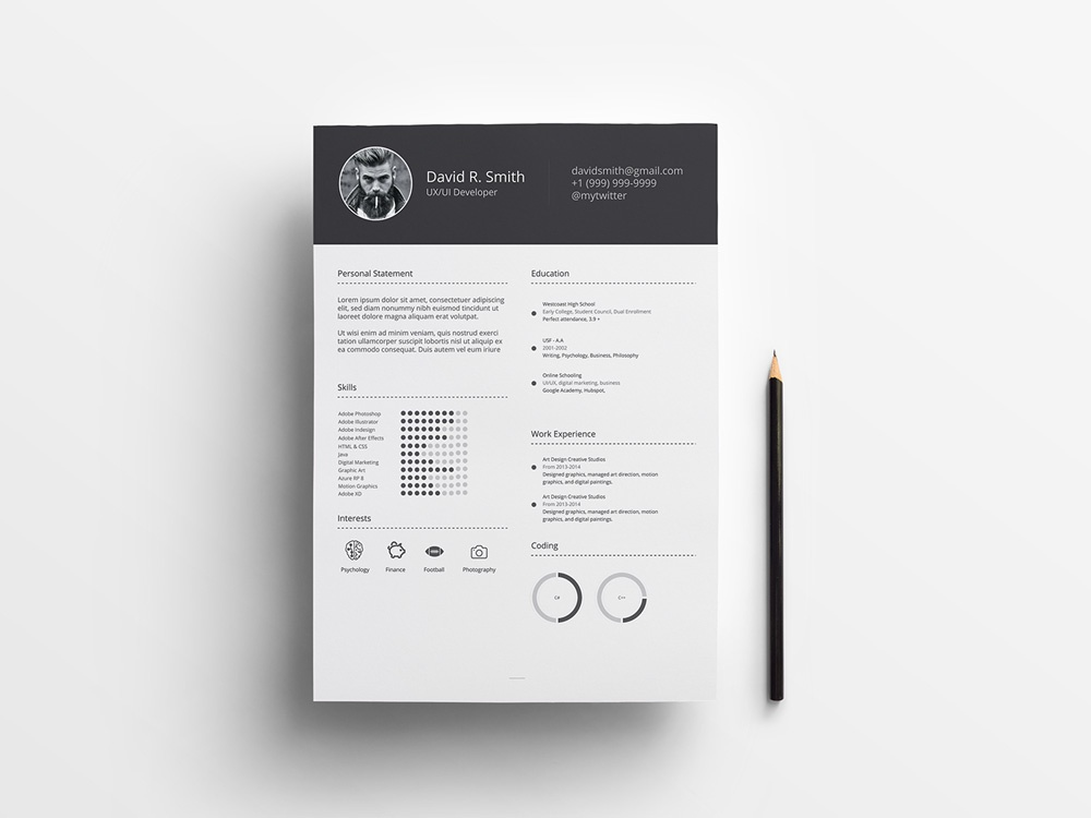 Free Infographic Resume With Simple Style Design Illustrator Ai Eps Psd Cv Template Freebie