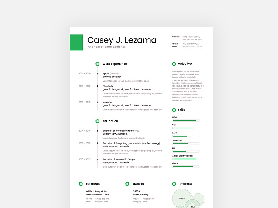 Free Clean Resume Template By Julian Ma