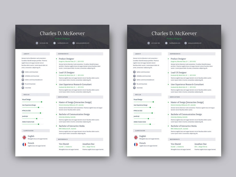 free psd one page resume template by julian ma