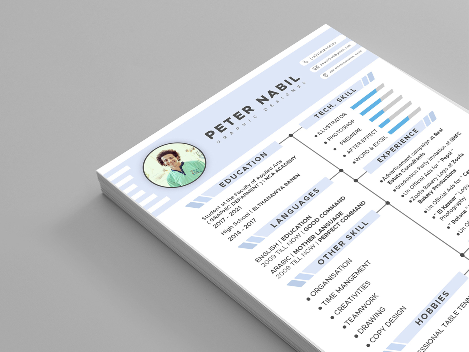Free Graphic Designer Resume Template by Julian Ma on Dribbble