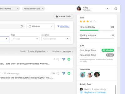 Right top corner ux userexperience ui userinterface inbox desktop dashboard appdesign app customer care interaction