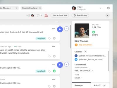 Right top corner II. interaction customer care app appdesign dashboard desktop inbox userinterface ui userexperience ux