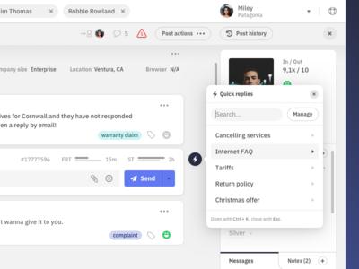 Quick replies I. ux userexperience ui userinterface replies desktop dashboard appdesign app customer care interaction