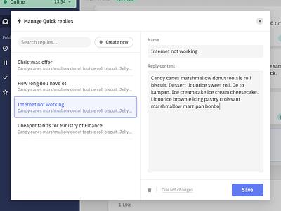 Quick replies II. interaction customer care app appdesign dashboard desktop replies userinterface ui userexperience ux