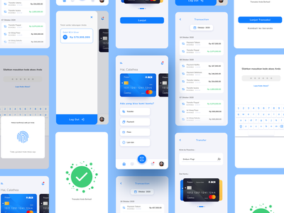 BCA Mobile Banking App Re-Design creditcard debit card payment transaction banking app bank mobile banking mobile banking app minimalist minimalism mobile blue uxdesign ux uidesign ui