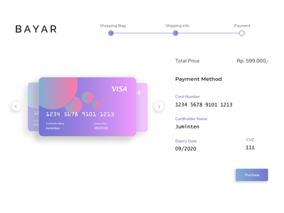 Credit Card Checkout daily ui 002 dailyui 002 daily ui dailyui purchase web design web webdesign blue purple uxdesign ux uidesign ui payment method payment credit card payment checkout credit card checkout credit card