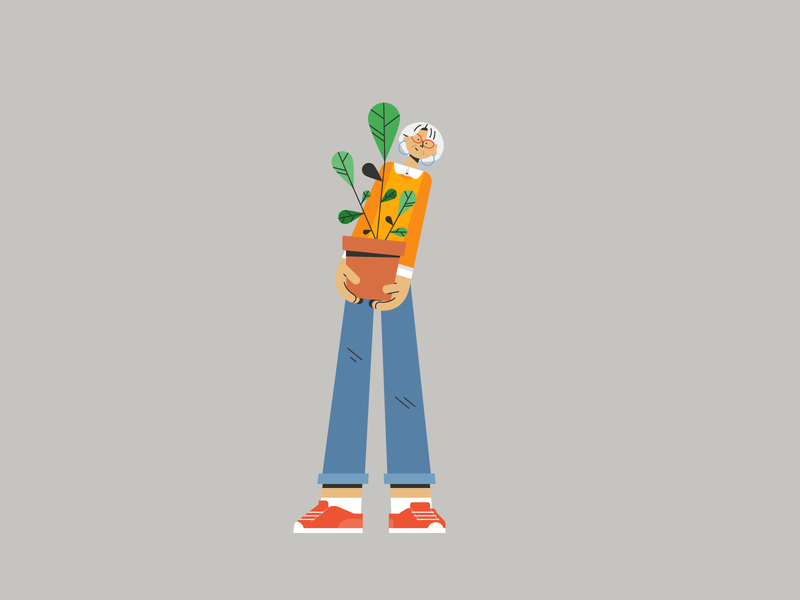 Plant Shopper 🌿 grandma trainers sneakers stylish design woman old plant shopper jeans character design illustration