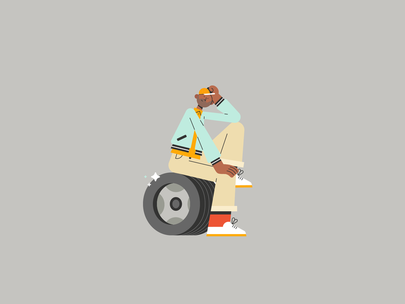 Tyre Shopper 🧰 stylish design man young tyre shopper baseball cap character design illustration