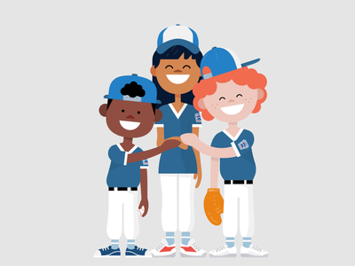Honda + Little League Baseball spotillustration illustrator adobe vector littleleague celebration advertising sponsership sports baseball littleleaguebaseball honda characters illustration design character