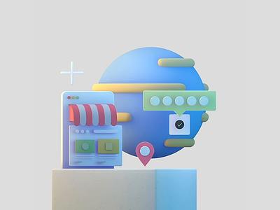 3D illustrations shopify shop motion graphics 3dillustration 3d animation 3d motion looping gif illustration animation