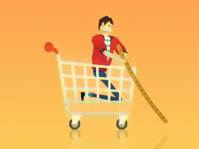 Baguette Gondola 🛶🛒🥖 groceries supermarket bread shopping cart shopping trolly character animation character design