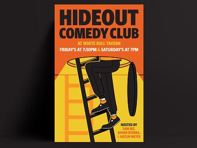 Hideout Comedy vector illustrator comedy poster poster branding typography lettering brand identity design illustration design
